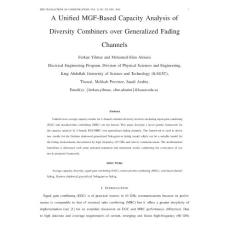 统计学论文 - A Unified MGF-Based Capacity Analysis of Diversity Combiners over Generalized Fading Channels