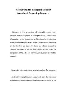 Accounting for intangible assets in tax-related Processing Research