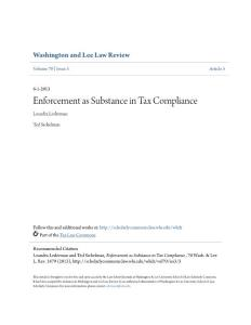 Enforcement as Substance in Tax Compliance...
