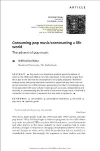 consuming pop musicconstructing a life world the advent of pop music