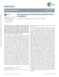 3d nanostructures fabricated by advanced stencil lithography.通过先进的模板光刻技术制造的三维纳米结构
