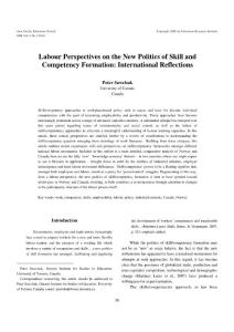 labour perspectives on the new politics of skill and competency formation international reflections