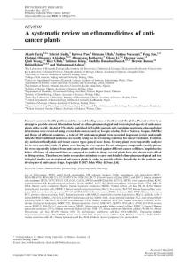 a systematic review on ethnomedicines of anti-cancer plants.[2017][phytotherapy research ptr][10.1002ptr.5751].系统回顾民族医学的抗癌植物。[2017][植物疗法研究ptr