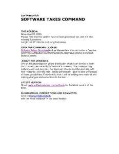 Lev Manovich SOFTWARE TAKES COMMAND - …