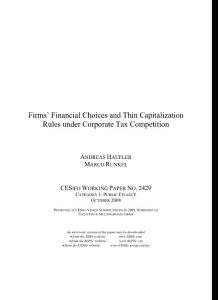 Firms´ Financial Choices and Thin Capitalization Rules under Corporate Tax Competition