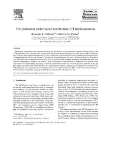 The production performance benefits from JIT implementation