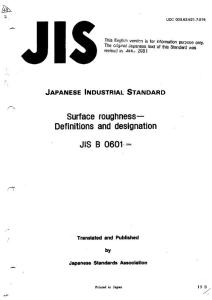 JIS B0601-1994 英文版 Surface roughness-Definitions and designation