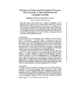 Problems in output and the cognitive processes they generate A step towards second language learning