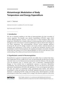 Histaminergic modulation of body temperature and energy expenditure