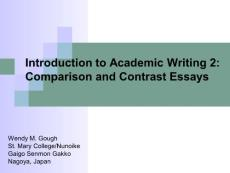 Introduction to Academic Writing Comparison and Contrast Essays介绍学术写作的比较和对比的文章
