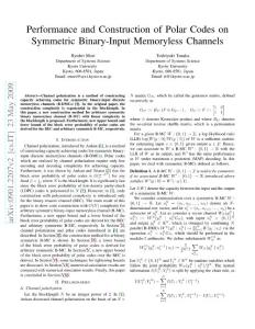 Performance and Construction of Polar Codes on Symmetric Binary-Input Memoryless Channels