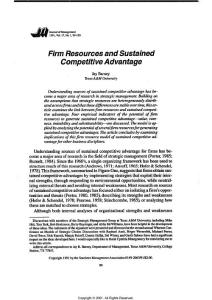 (Barney  1991)Firm Resources and Sustained ComPetitive Advantage