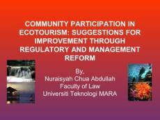 COMMUNITY PARTICIPATION IN ECOTOURISM SUGGESTIONS FOR IMPROVEMENT
