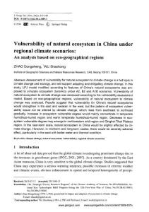 Vulnerability of natural ecosystem in China under regional climate scenarios: An analysis based on eco-geographical regions