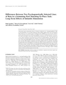 Differences Between Two Psychogenetically Selected Lines of…