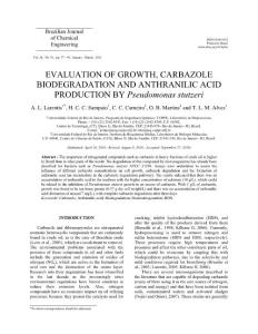 EVALUATION OF GROWTH, CARBAZOLE BIODEGRADATION AND ANTHRANILIC…