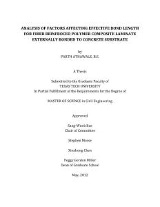 analysis of factors affecting effective bond length of fiber reinforced polymer composite laminate externally bonded to concrete substrate