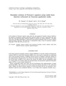 boundary solution of poisson´s equation using radial basis function collocated on gaussian quadrature nodes