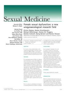 female sexual dysfunction a new urogynaecological research field