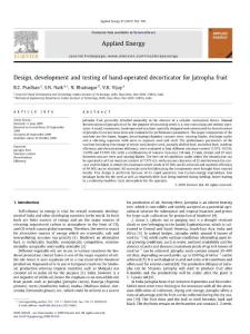 Design  development and testing of hand-operated decorticator for Jatropha fruit