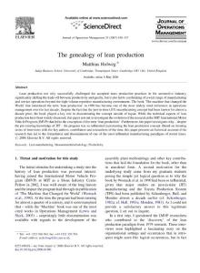 (JOM 2007) The genealogy of lean production