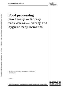 BS-EN-1673-2000 Food Processing Machinery- Rotary Rack Ovens- Safety and hygiene requirements