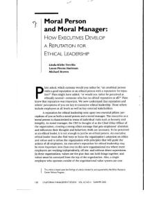 Moral Person and Moral Manager How EXECUTIVES DEVELOP