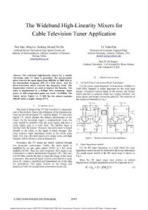 The Wideband High-Linearity Mixers for Cable Television Tuner Application