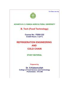 REFRIGERATION ENGINEERING AND COLD CHAIN