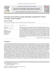 How does social software change knowledge management Toward a strategic research agenda
