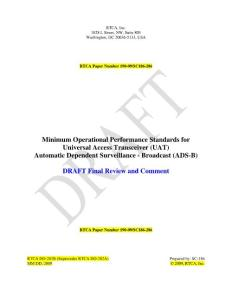 Minimum Operational Performance Standards for Universal Access Transceiver (UAT) Automatic Dependent Surveillance - Broadcast (ADS-B)