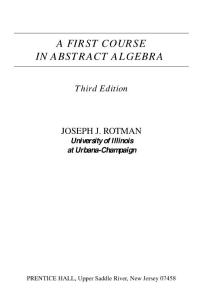 A first course in abstract algebra - JOSEPH J. ROTMAN
